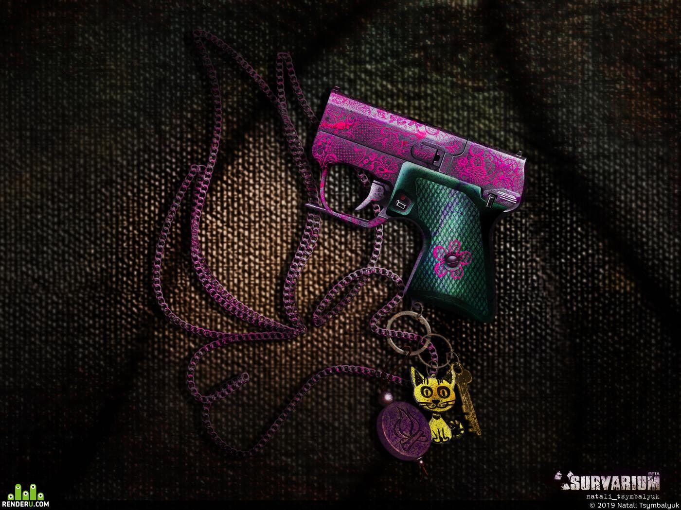 пистолет, мсп, Советский, концепт, арт, дизайн, розовый, женский, детский, постапокалипсис