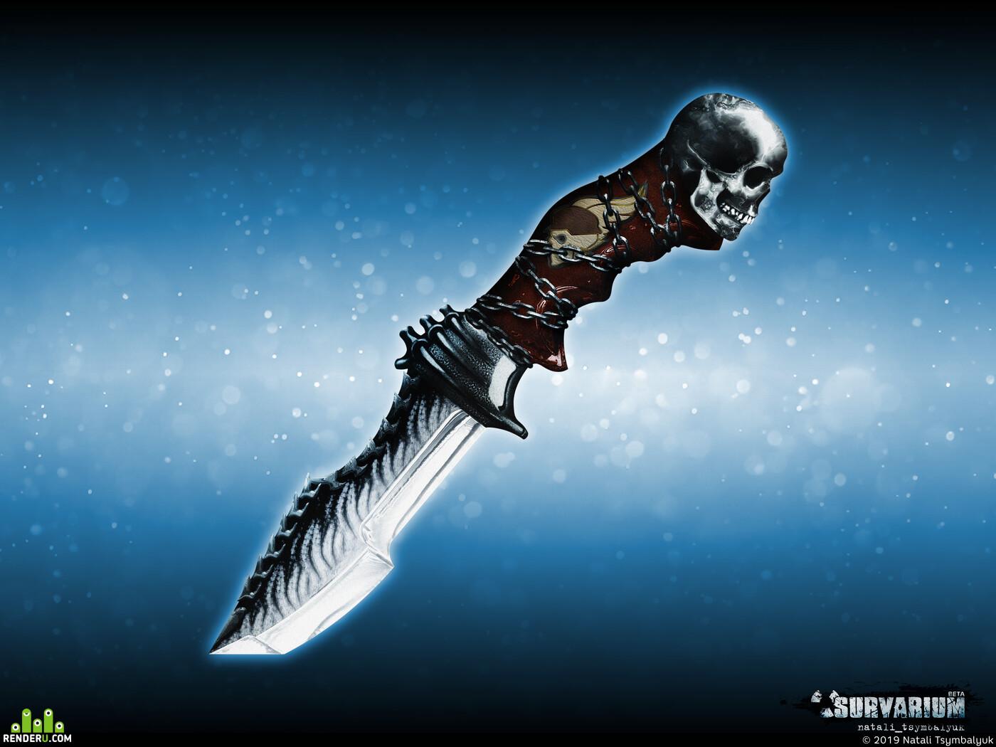 нож, дизайн, концепт, арт, череп, цепи, холодное оружие