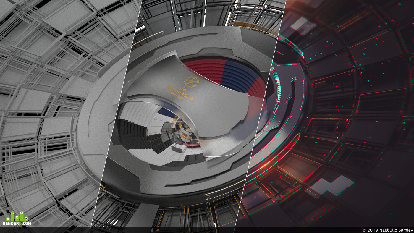 Cinema4D, Cinema 4D, V-RayforC4D, Adobe Photoshop, Footbal, tv design, Motion Design, designer