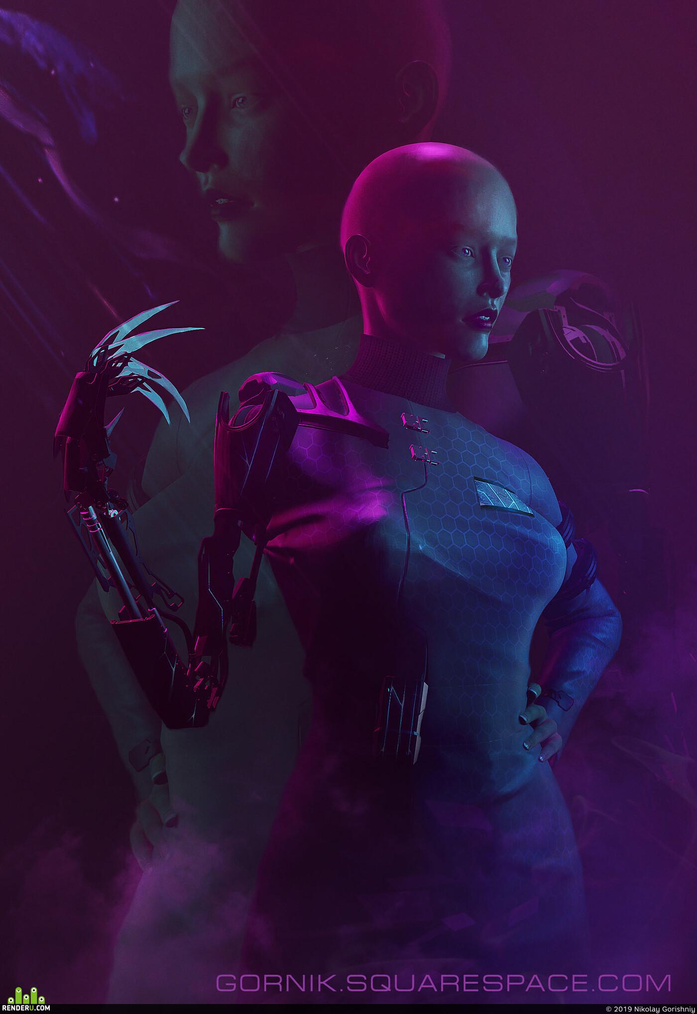 блендер, девушка, доктор, ученый, киберпанк, неон, темная госпожа