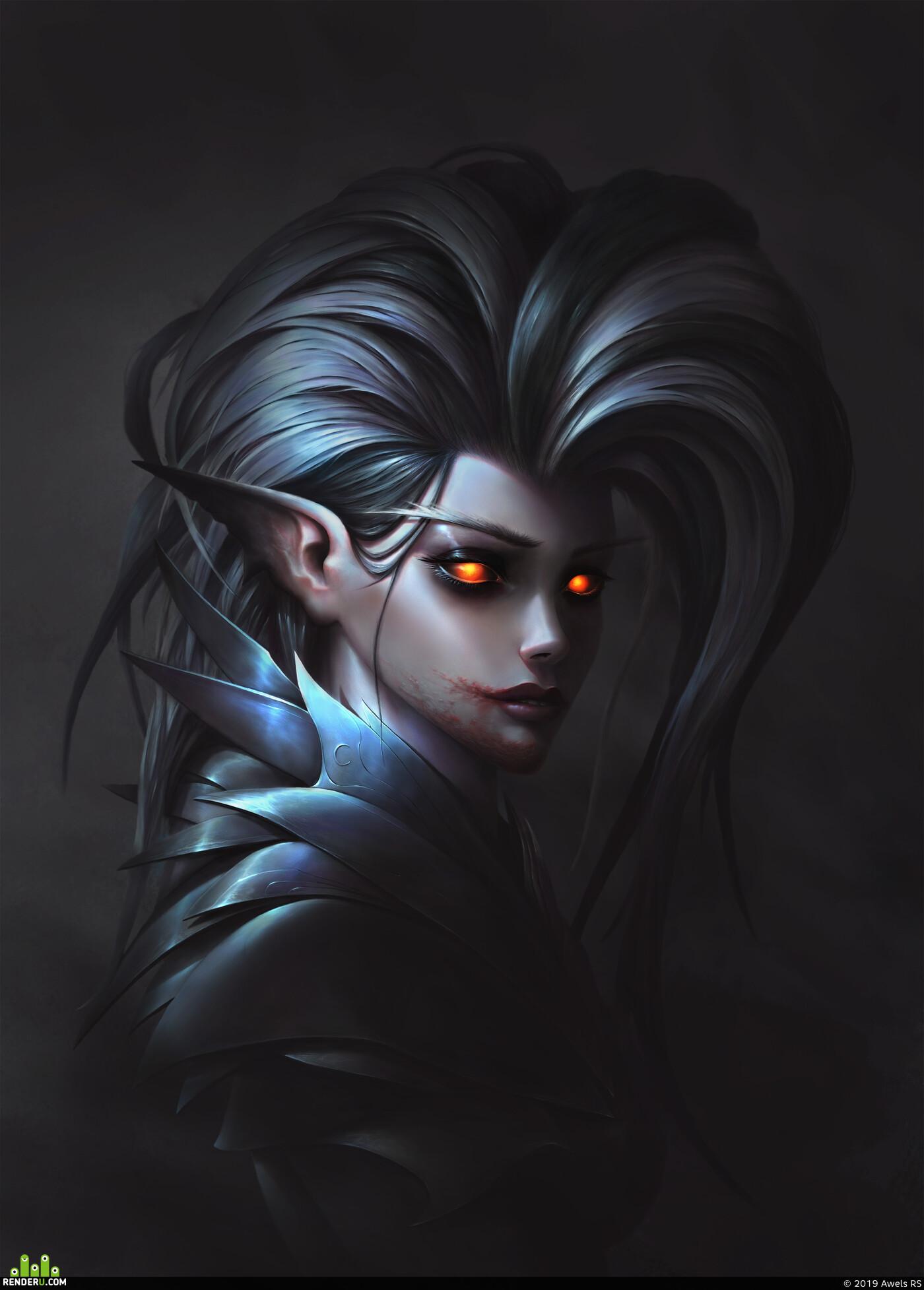 elf, elfgirl, awels, RS, awelsrs, Fantasy, woman, art, illustration, warcraft