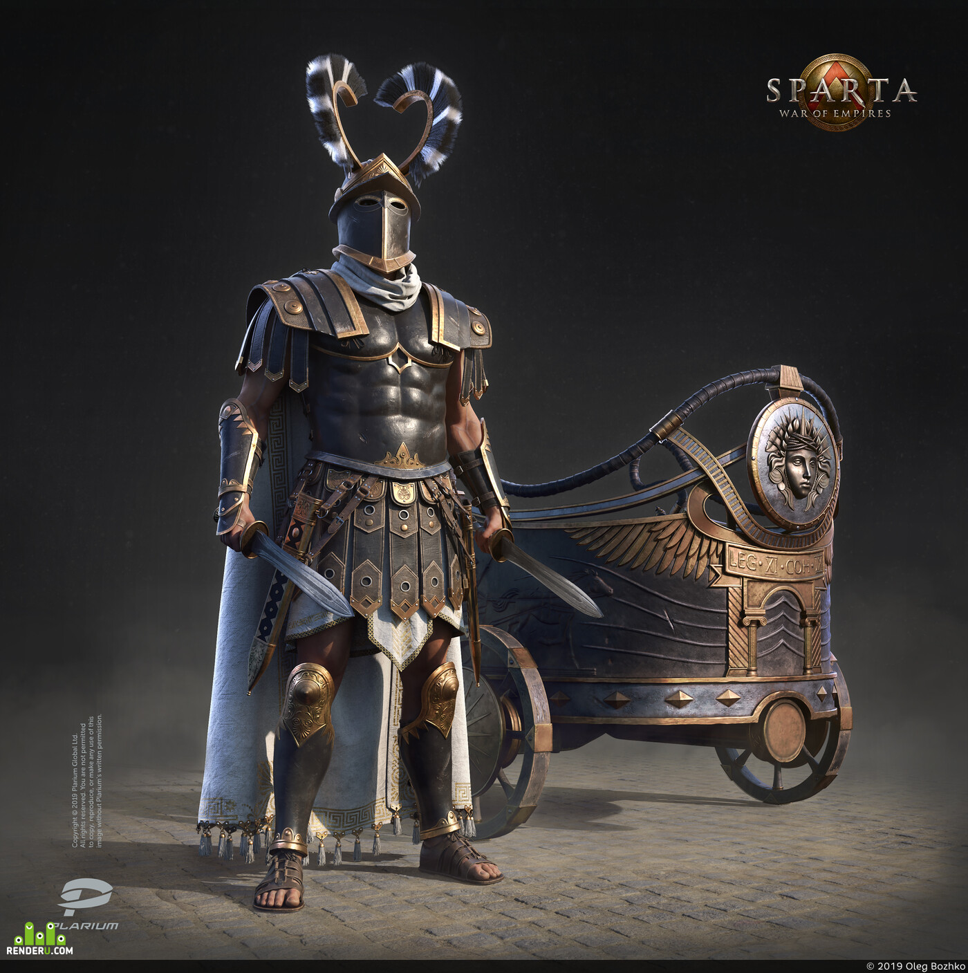 digital 3d, Characters, Concept Art, game art, Character, warrior, chariot, Plarium, armour