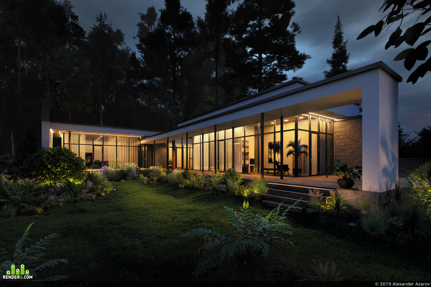 частный дом, Загородный дом, дом, Дом в лесу, лес, картина, кресло, газон, Куст