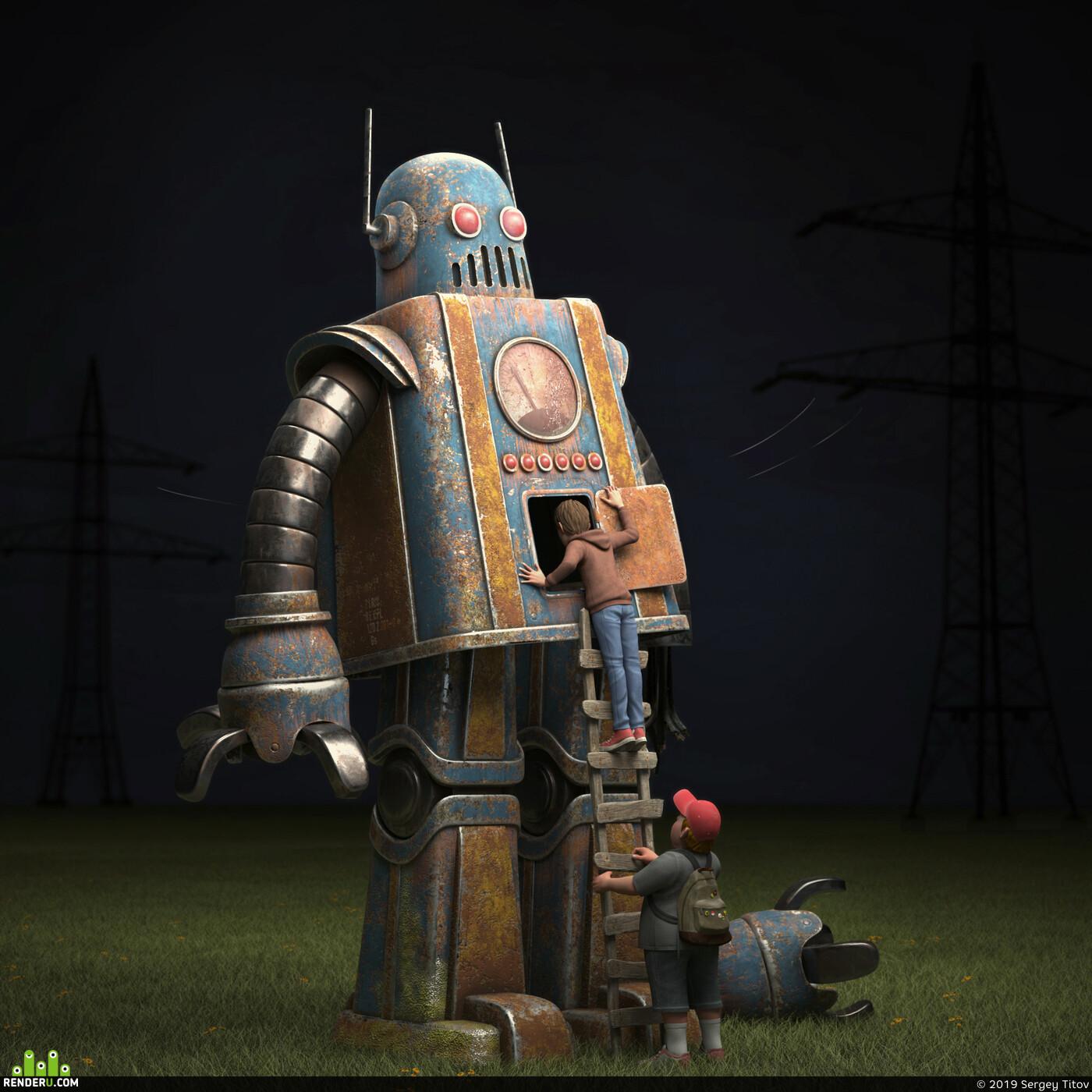 Character, 3D caracter, Картун (Cartoon), design_character, 3d character, 3dcharacter, ZBrush, Modo, robot, персонаж