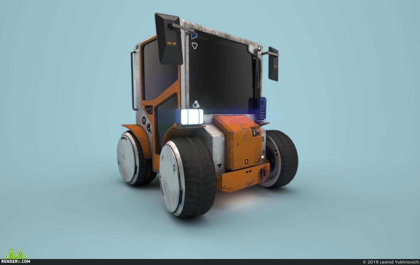 3d, substance painter, cart, electric