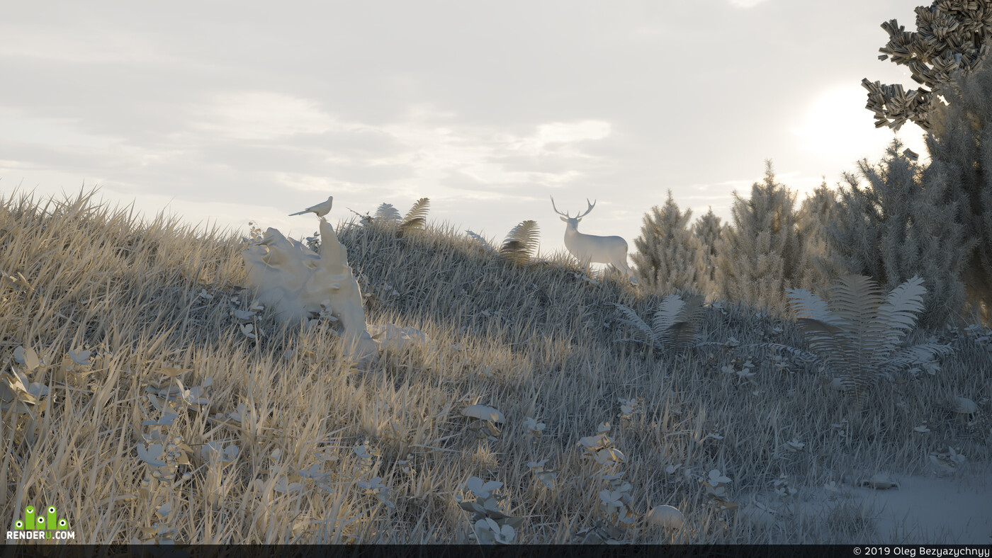Traditional 3D, architectural visualization, Environments, digital 3d, landscape, grass, sunset