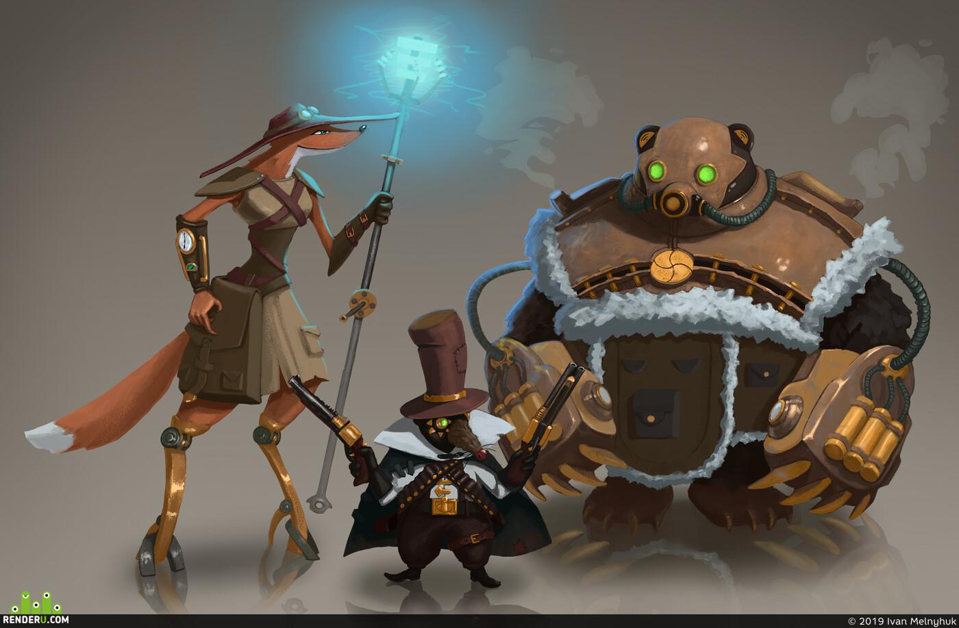 Characters, Concept Art, steampunk, Digital 2D, fox, rat, bear
