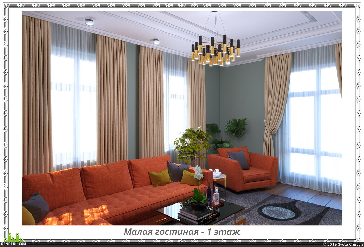 гостиная, мрамор, современный стиль, цветы в интертерьере
