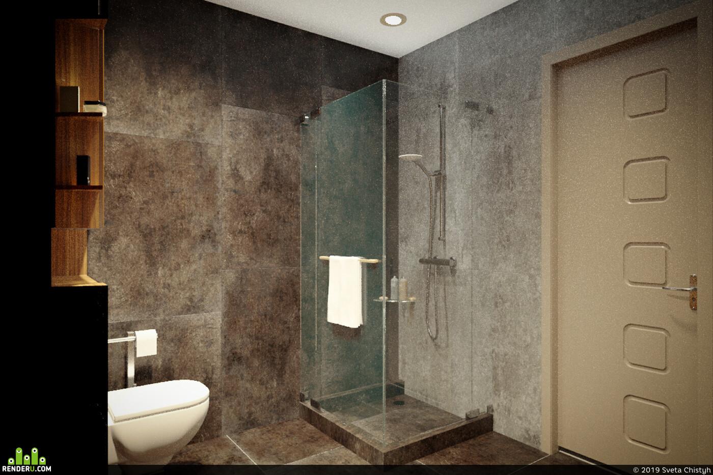 санузел, душевая кабина, Туалет, кафель, темный интерьер, коричневый