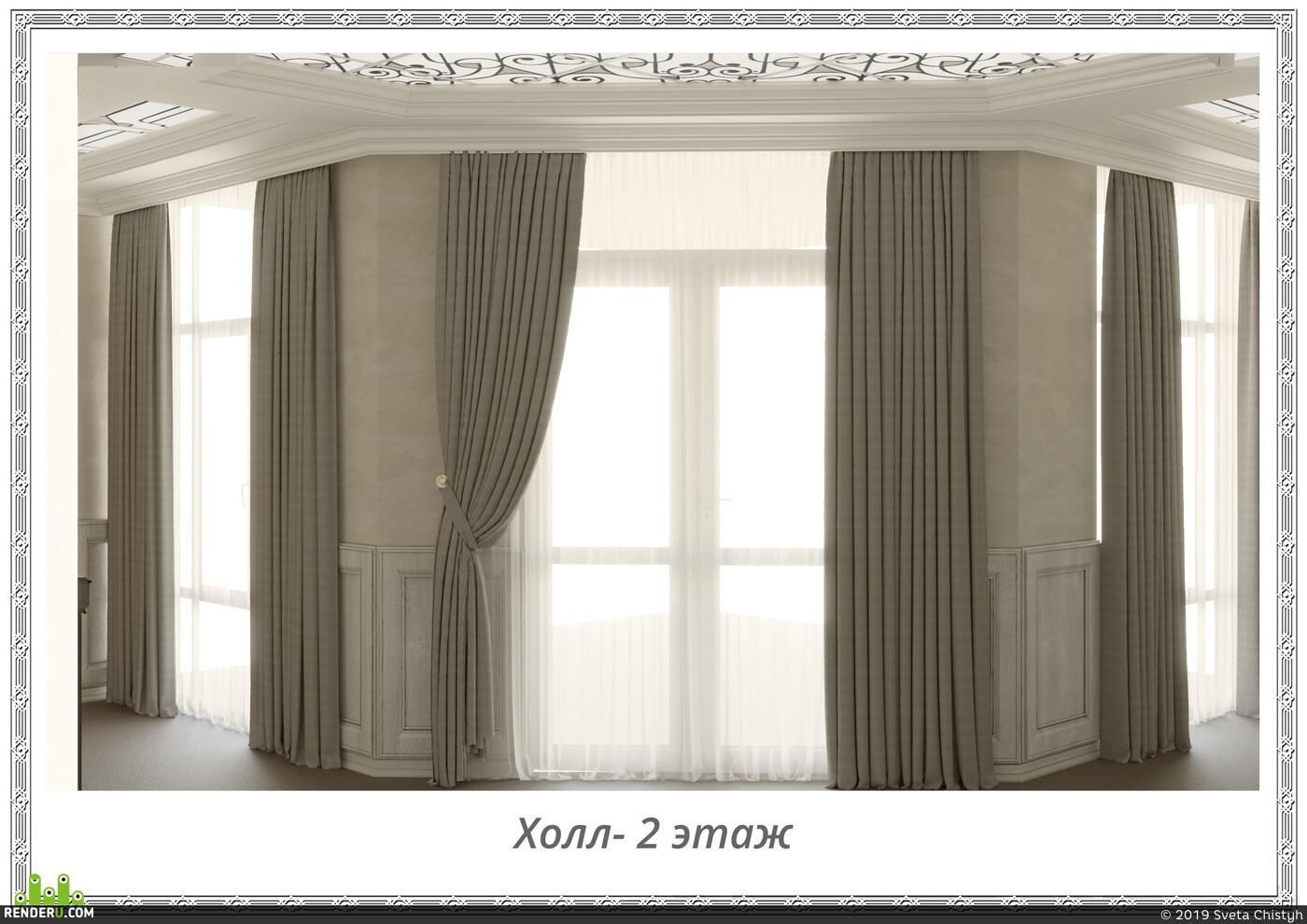 холл, Коридор, лестница, люстра, лофт, современный стиль, современный