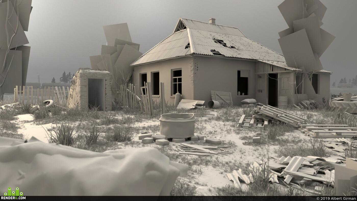 сталкер, CG, заброшенный двор, пустота, огонь, одиночество, осень, дом, железная дорога, поезд