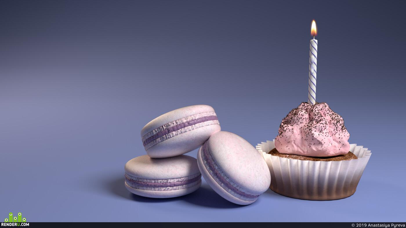 сладости, пирожное, макарнун, день рождения