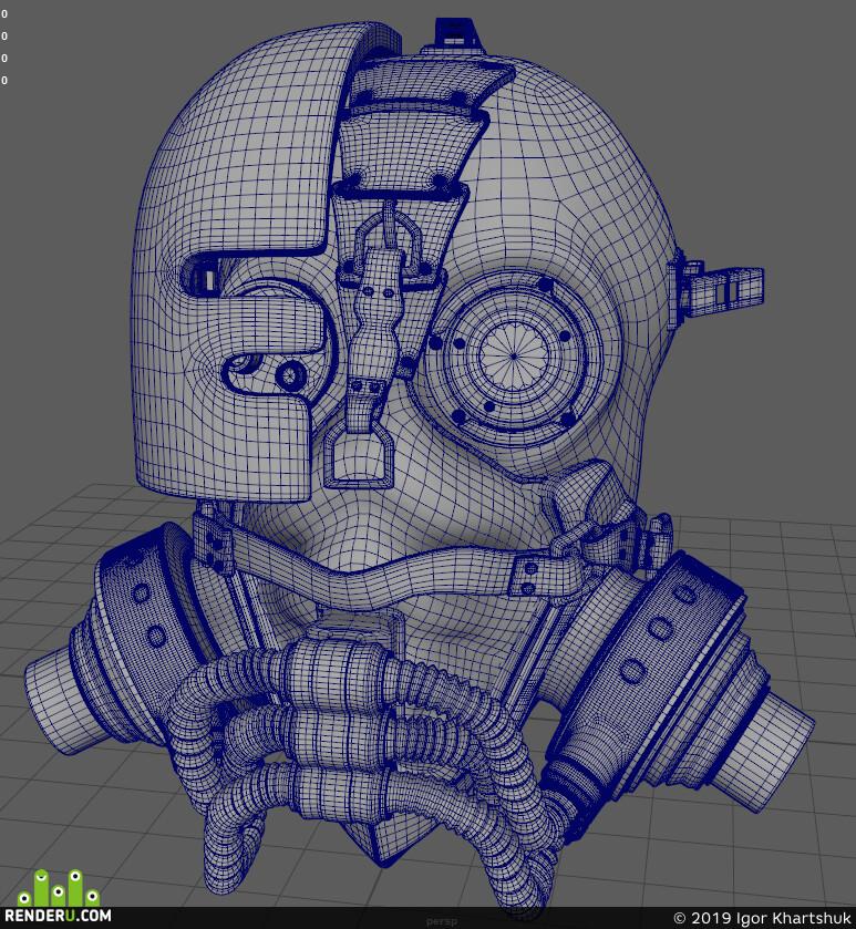 steampunk, Mask, prop, procedural materials, procedural texturing, hard surface