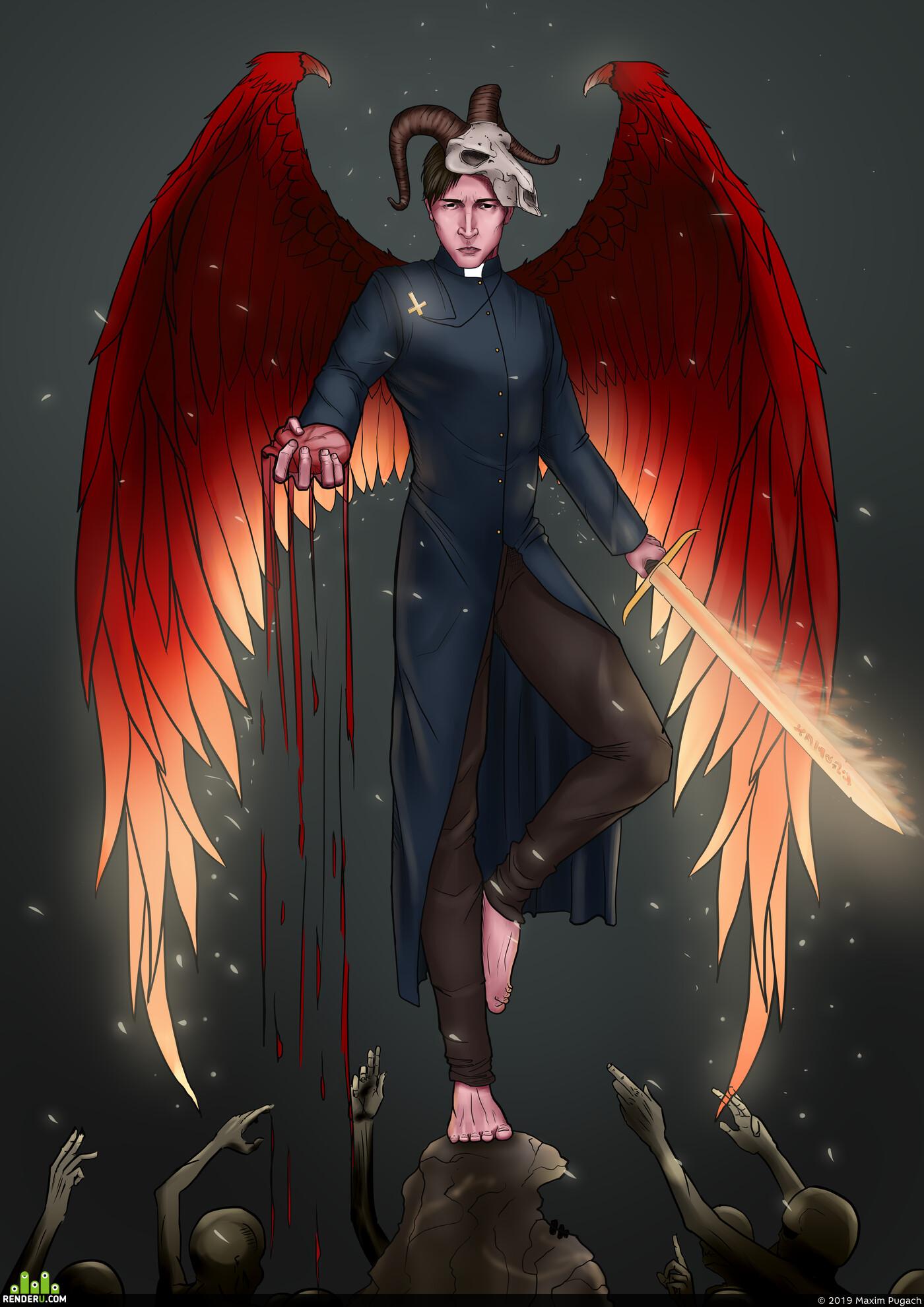 art, digitalart, illustration, comics, maxwellfrost, Комиксы, рисунок, иллюстрация, ангел