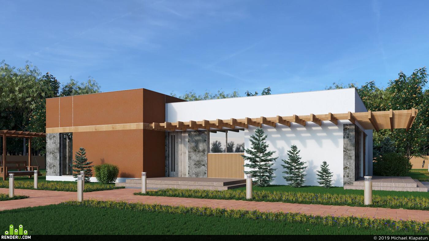 частный дом, Загородный дом, Визуализация экстерьеров, архитектура 3д архитектура визуализация архитектурная визуализация 3ds Max Corona Renderer Экстерьер