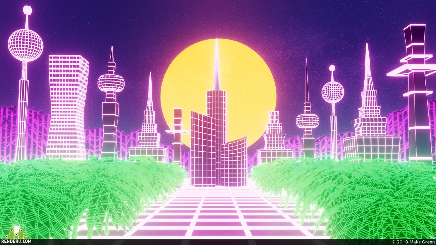 retro futuristic, night city