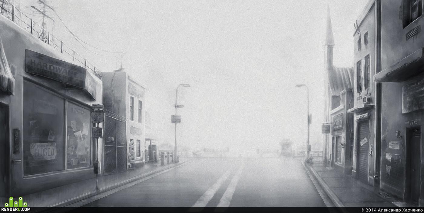 Пейзаж, окружение, Город, улица, SilentHill