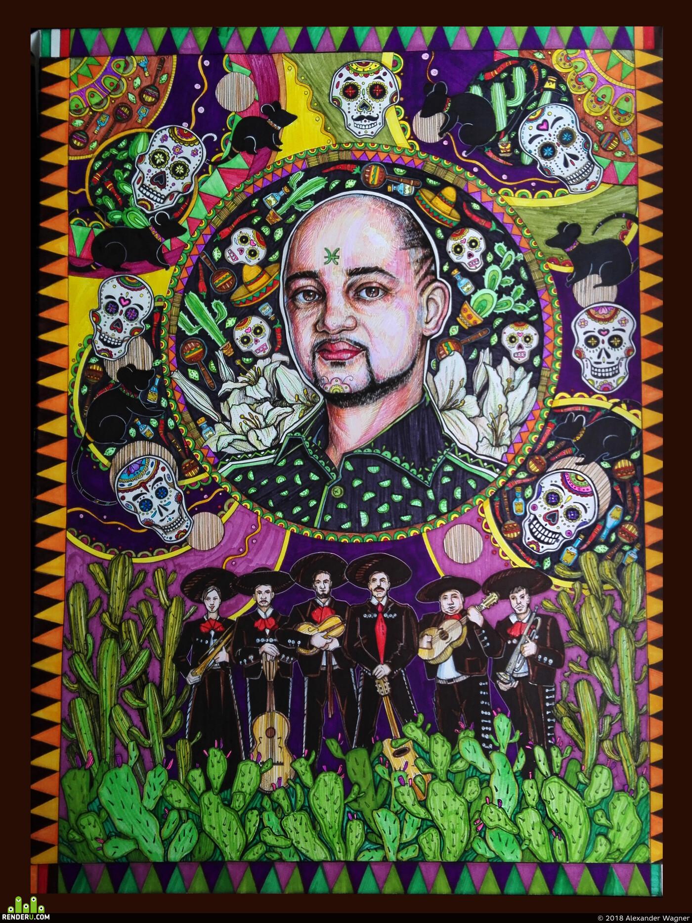 арт, портрет, Графика, традиционное искусство, декоративнаяграфика, стилизация, узоры, Черепа, череп, кактус