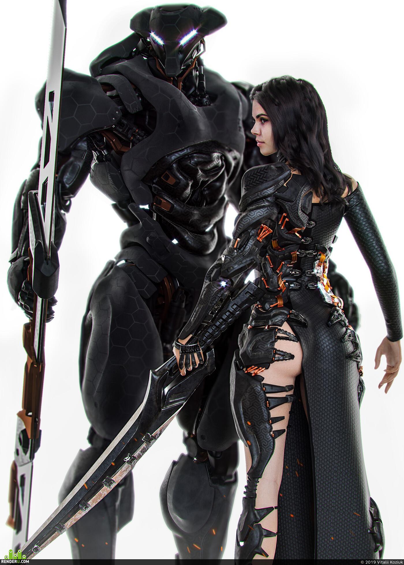 робот, девушка, одежда, волосы