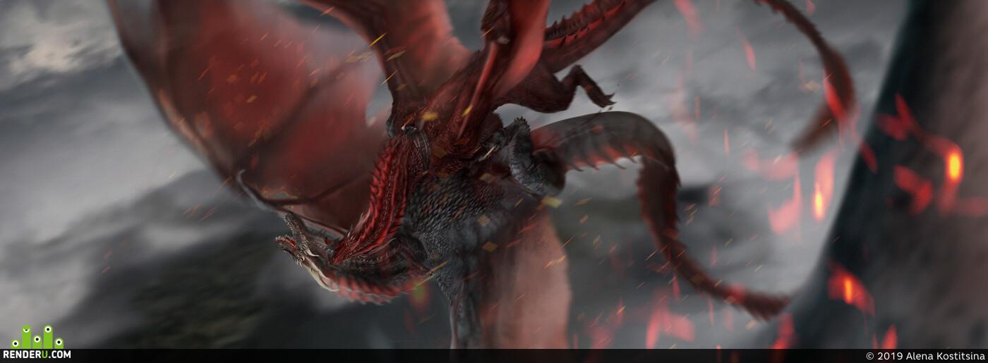 иллюстрация, Фэнтези, дракон, Игра престолов