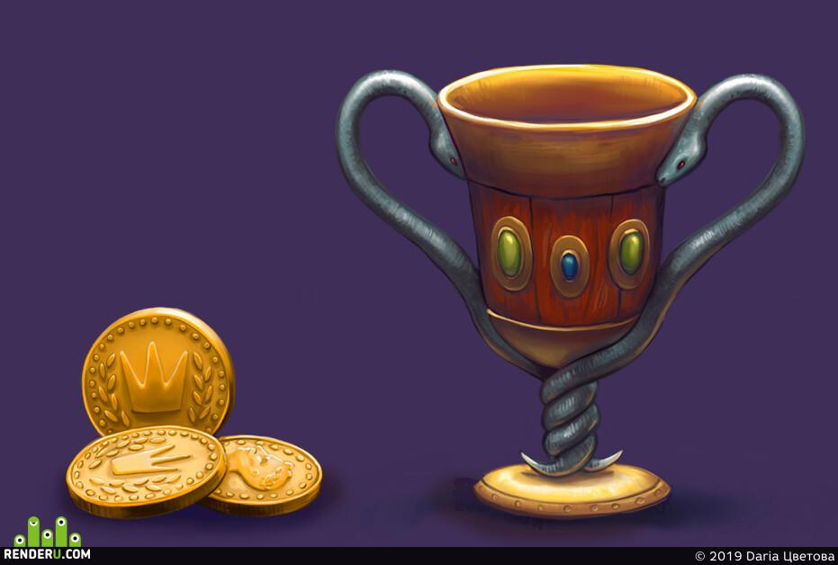 предметы, кубок, Сундук, монеты