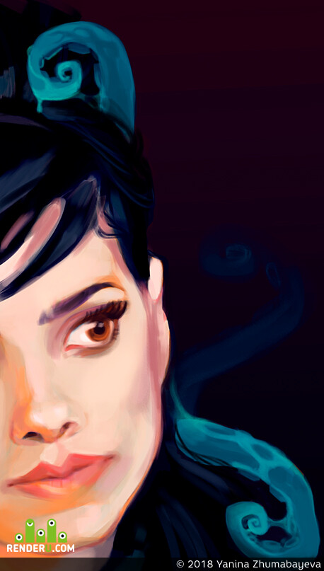 Lovecraft, illustration, Digital 2D, DIgital painting, digitalart, womanportrait, лавкрафт, Monsters, digital portrait, sea creatures