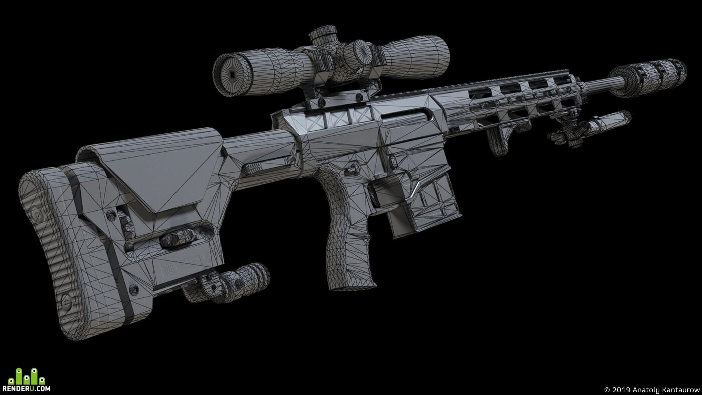 снайперская винтовка, прицел, сошки, глушитель, низкополигональный, оптика, оружие, рукоять, монопод