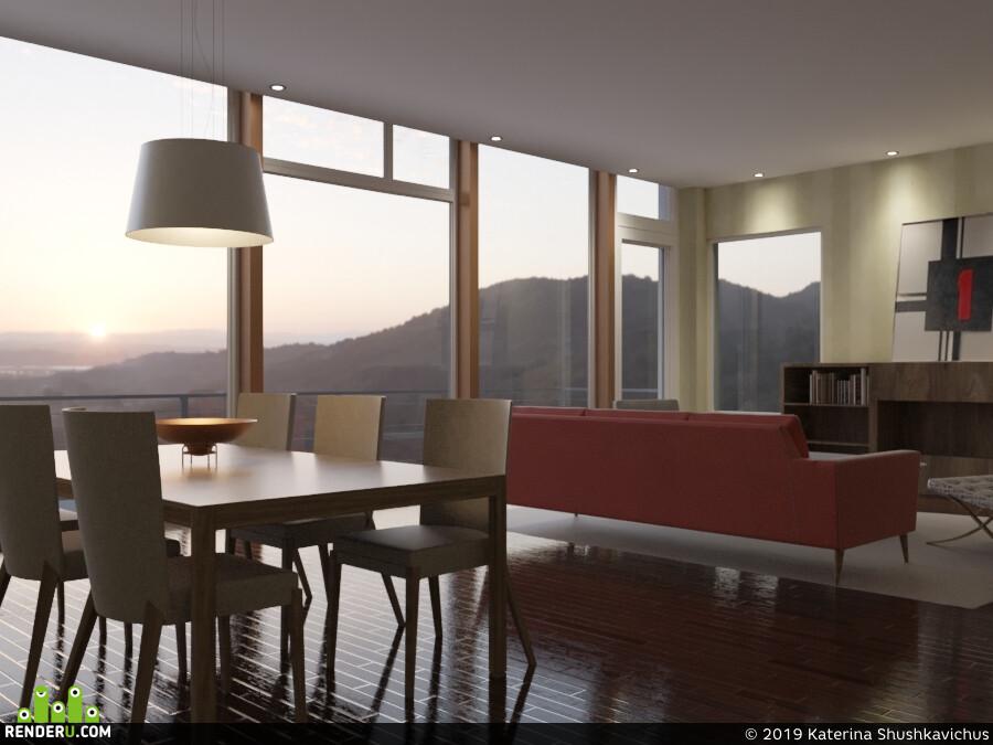 интерьер, гостиная, стол, стулья, диван, паркет, панорамное остекление, вечер