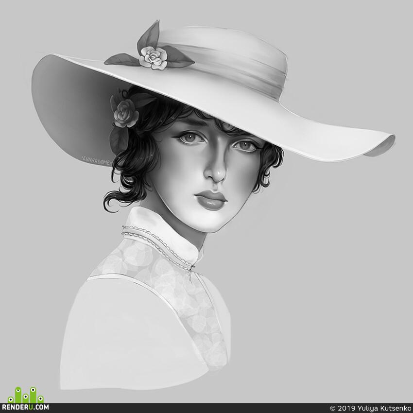 портрет, Черно-белое, девушка