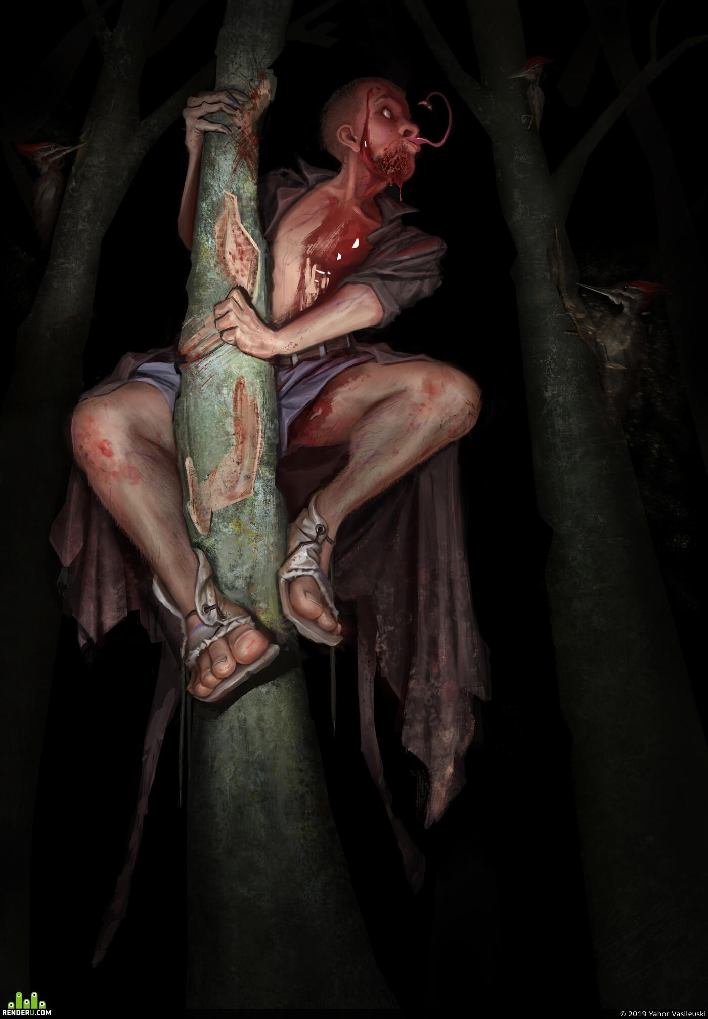 art, 2dart, concept_art, Character, illustration, Horror skull, Woodpecker, creepy