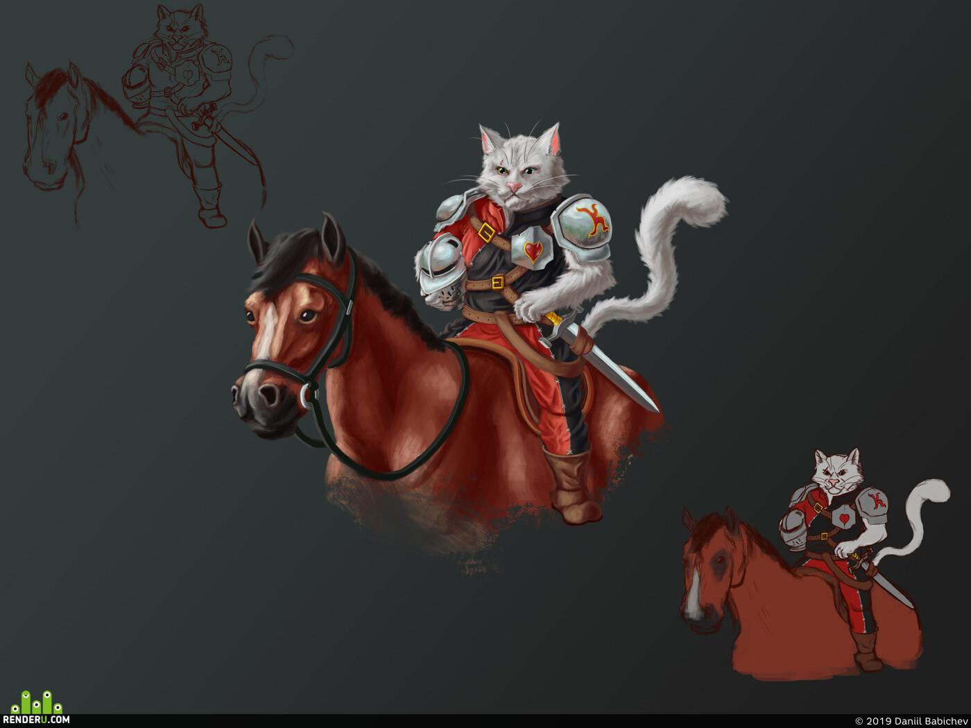 фентази, кот, Лошадь