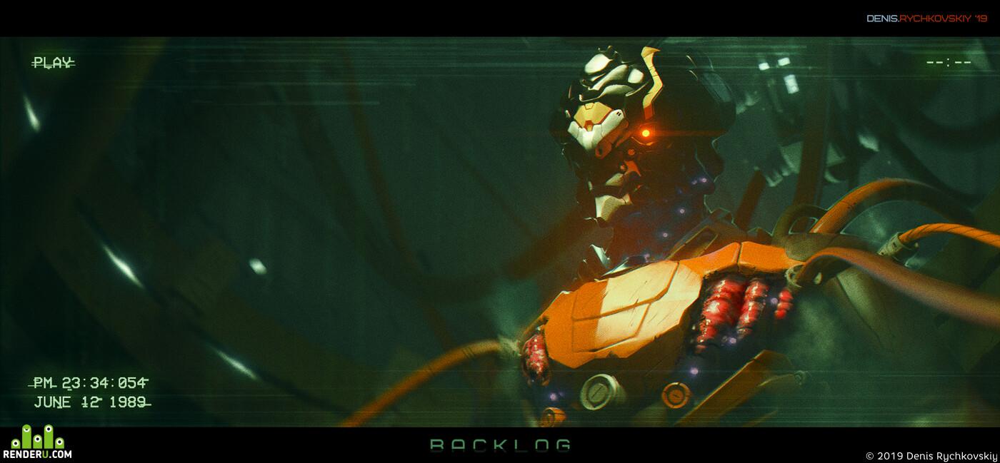 DenisAR, matrix, vhs, green, cyborg, robot, sci-fi