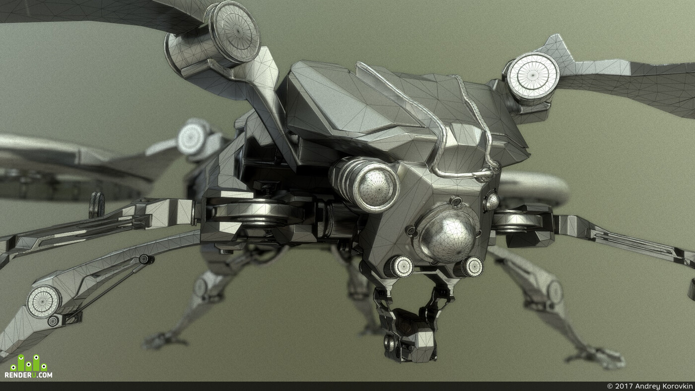 lowpoly, Game-ready, art, realtime, unigine, quadcopter