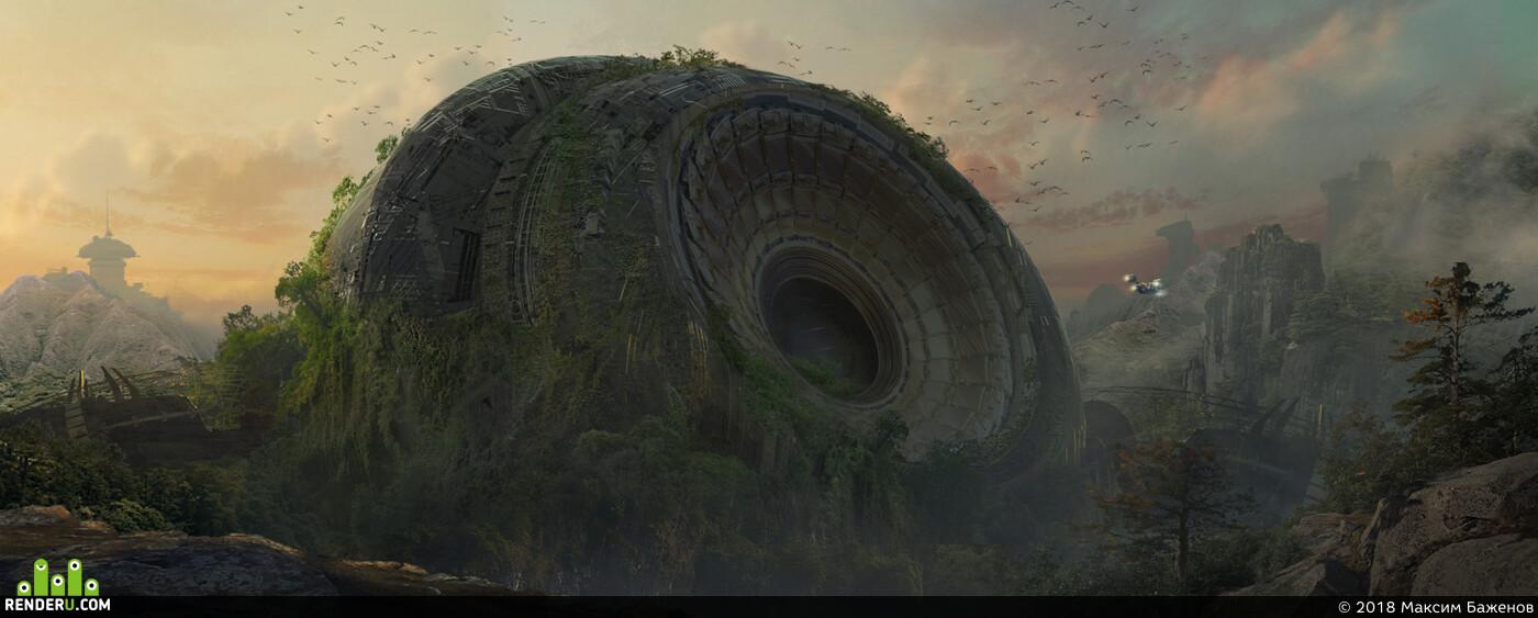 sci-fi, Landscapes, environment design, concept, concept_art, 3dconcept