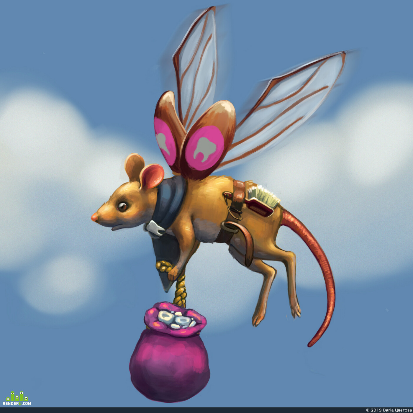 Digital 2D, Characters, Fantasy, creatures, Mouse, tooth fairy, fairy