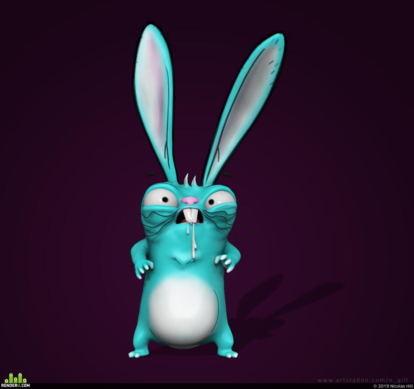 psycho, psychorabbit, funart, Characters characterdesign characterart, speed sculpt
