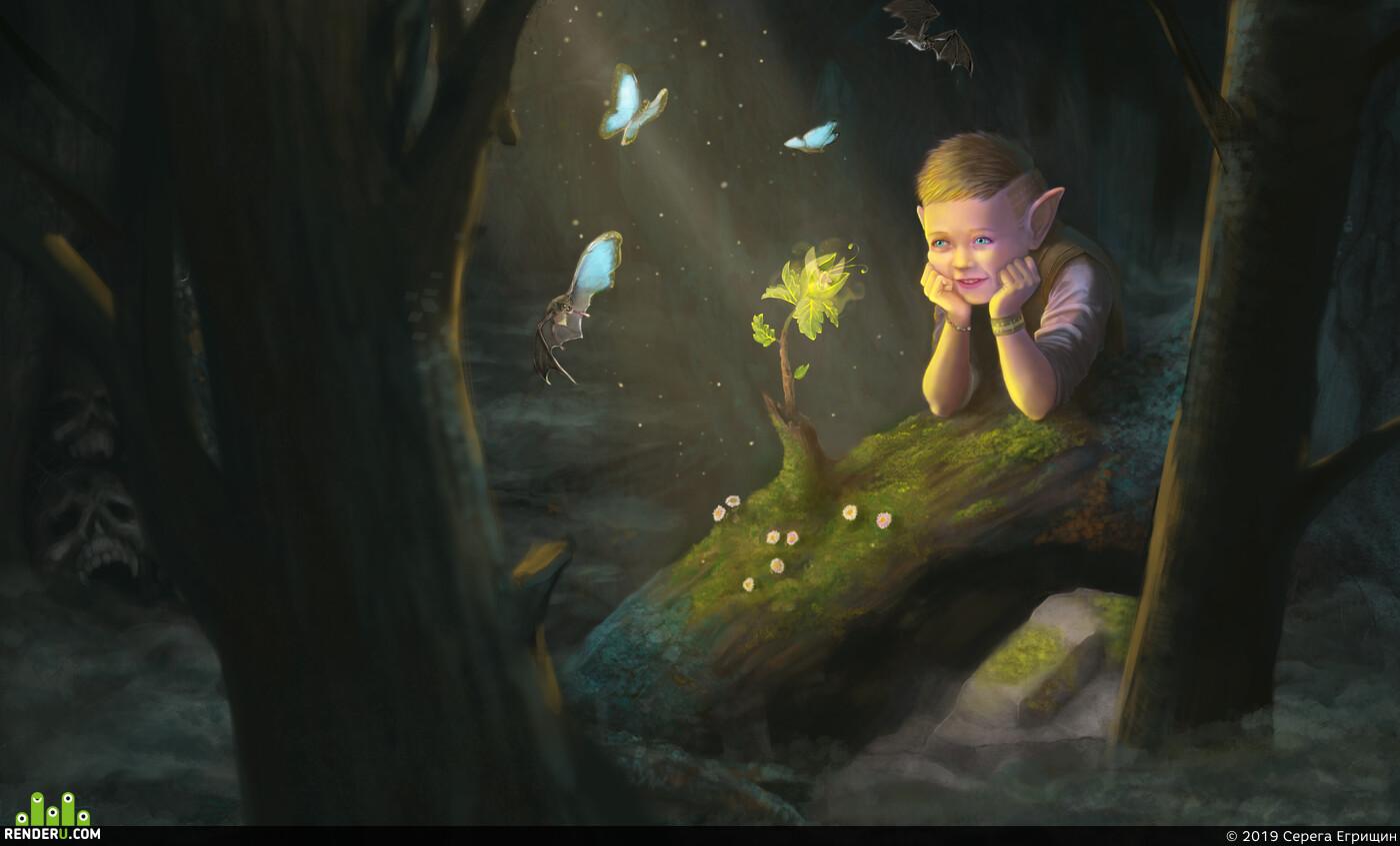 эльф, лес, фентази