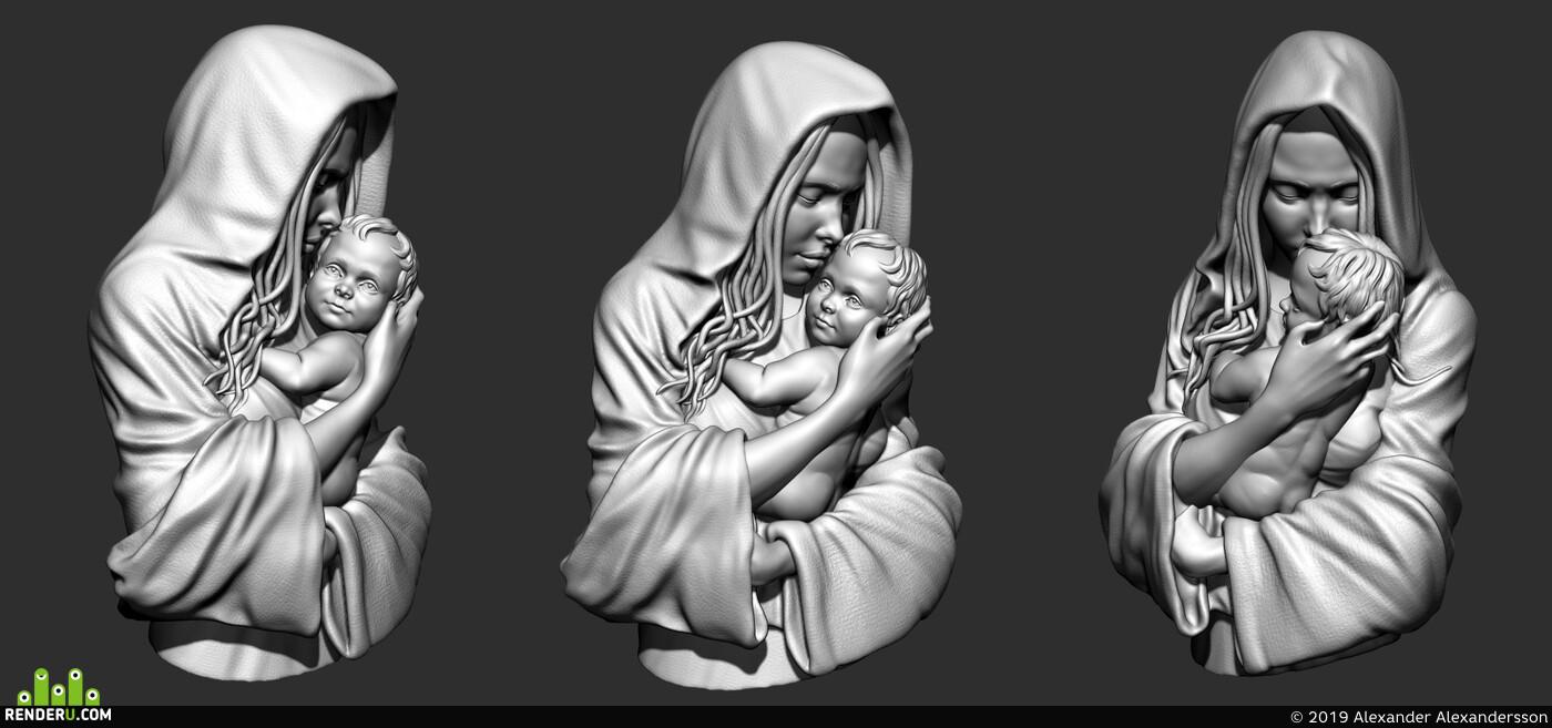 Дева с младенцем, 3D Печать, женскийперсонаж, фигура