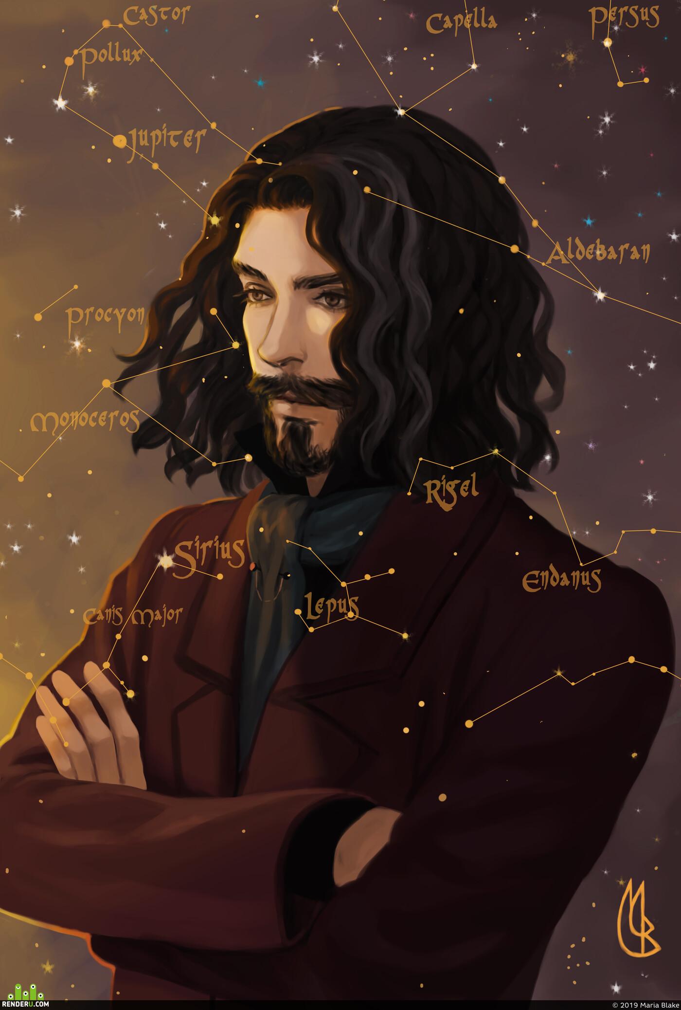 гаррипоттер, Сириус, звезды, Космос, портрет, цифровой портрет, портрет в фотошоп, дизайн персонажа, персонаж
