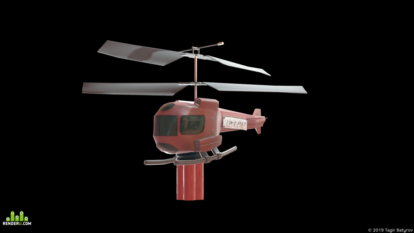 low poly, helicopter, Combat vehicles, PBR, Eevee