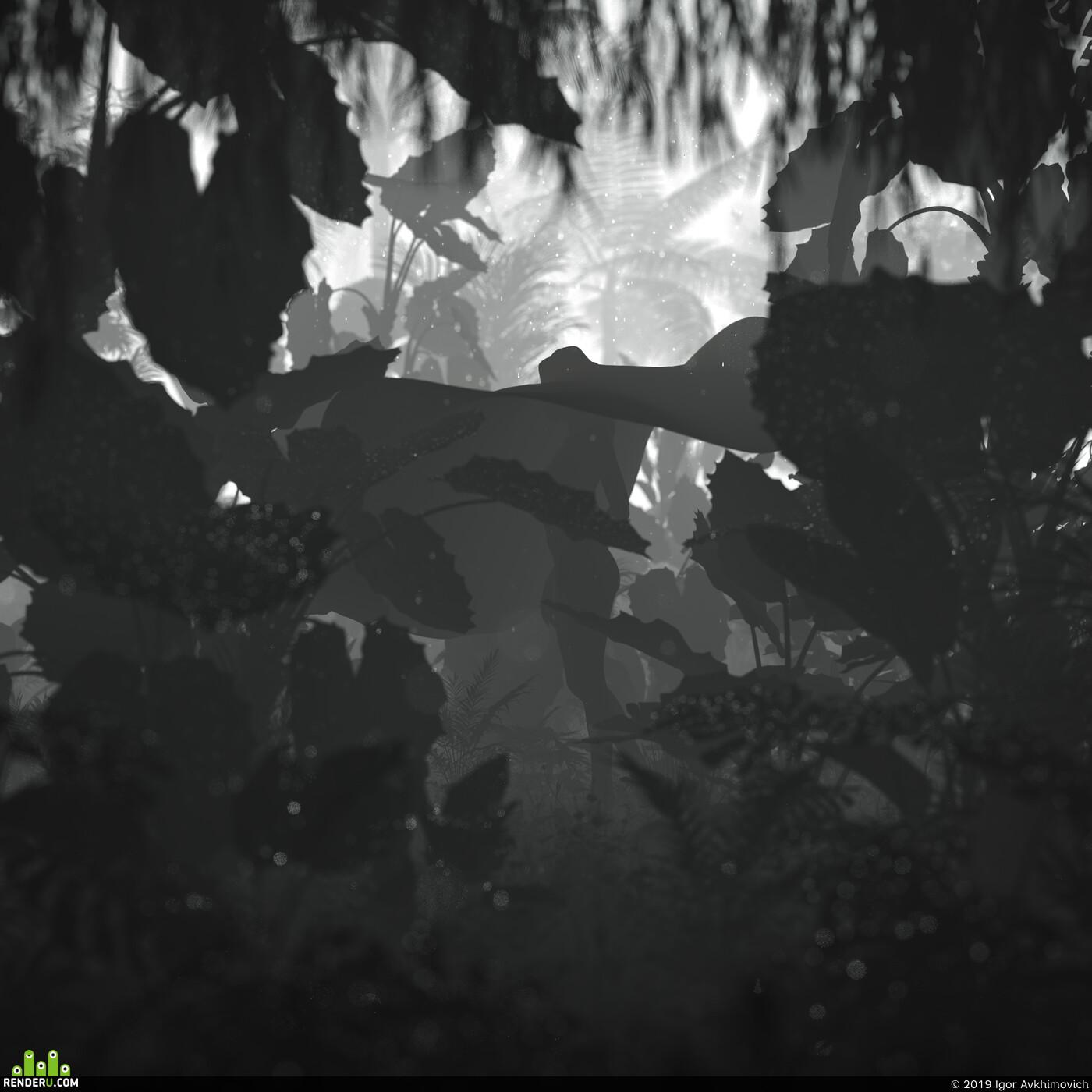hat, girl, jungle, palms