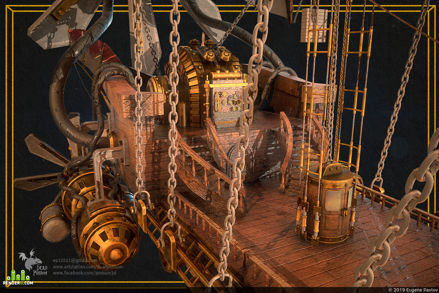 steampunk, blimp, antiaircraft