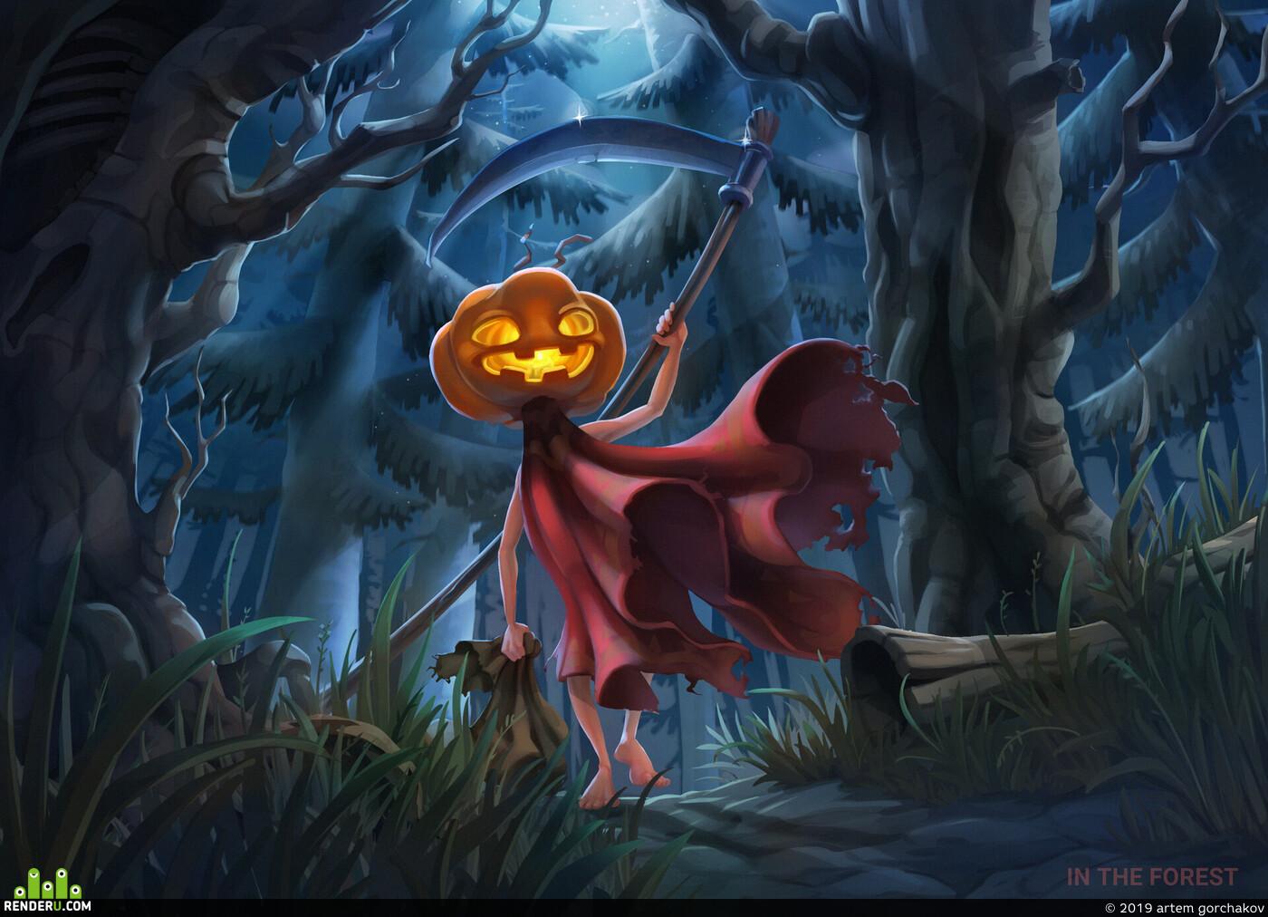 Тыквоголовый, тыква, ночь, лес, темный лес, лесной человечек, Кошмар, Хеллоуин