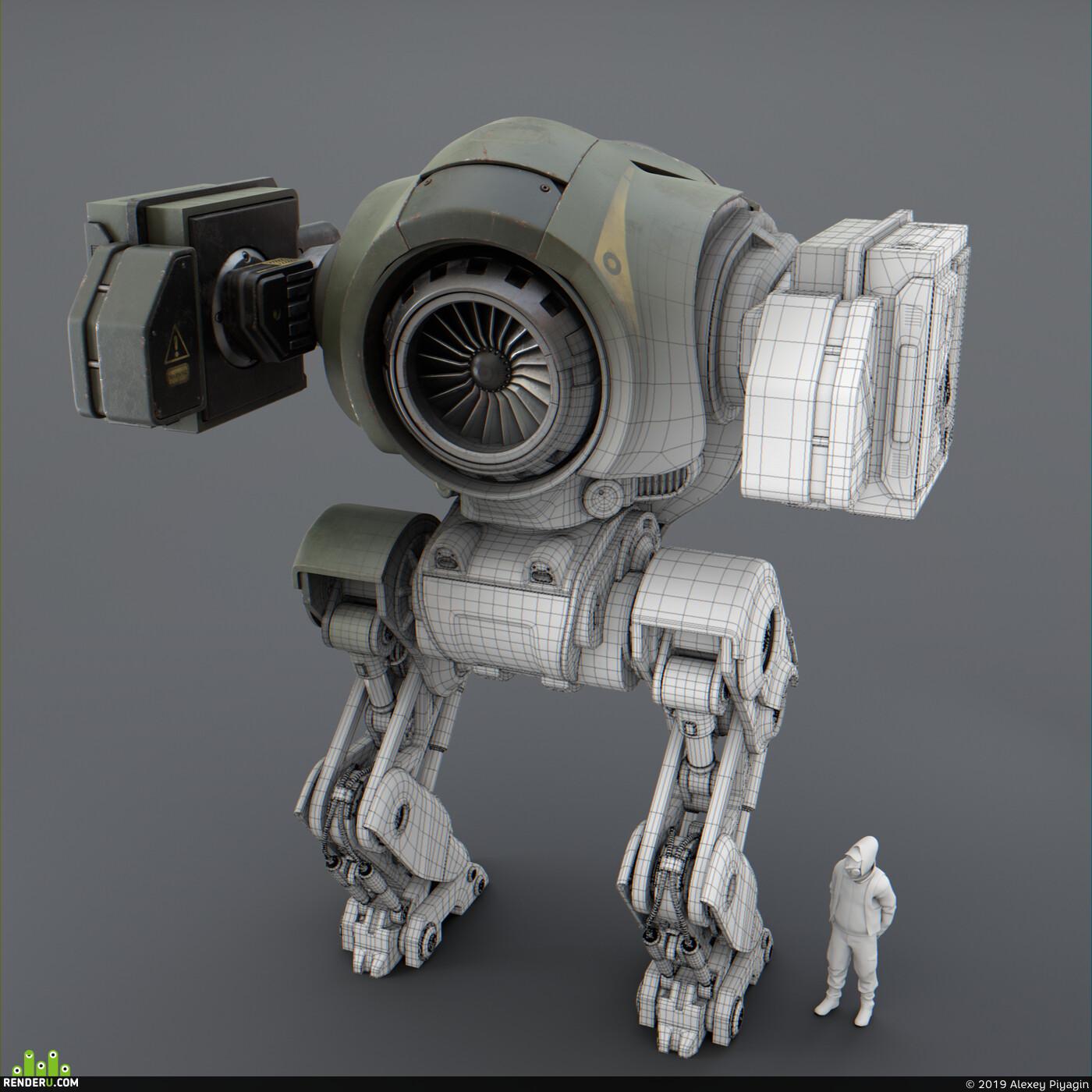 robot, military, Dieselpunk