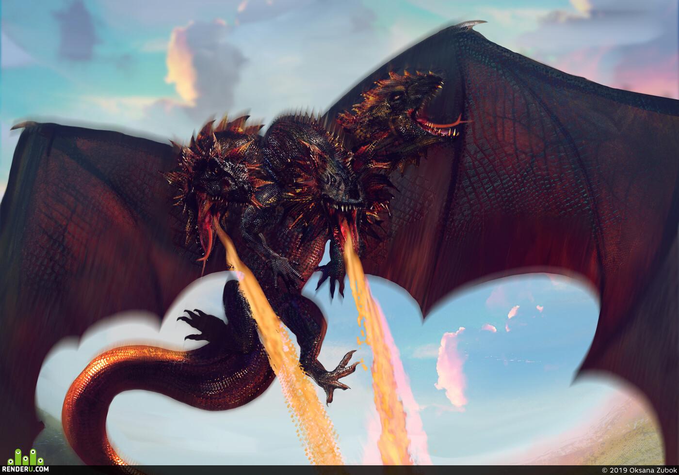 дракон, сражение, битва, Смертельная битва, Пламя, огонь