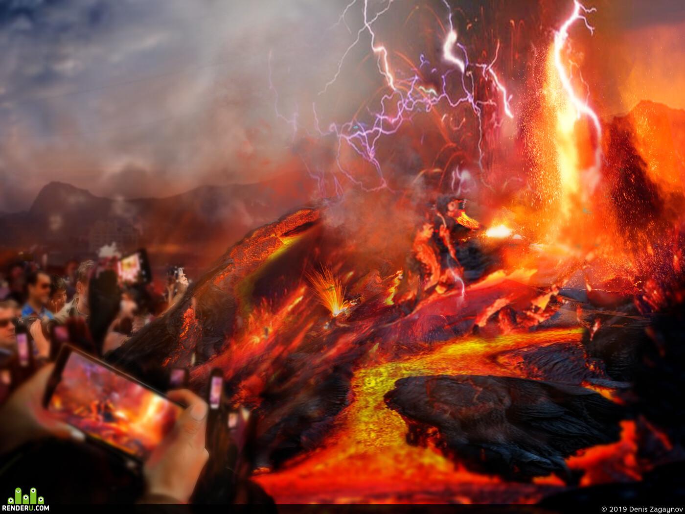 Вулкан, монстр, фотокамера