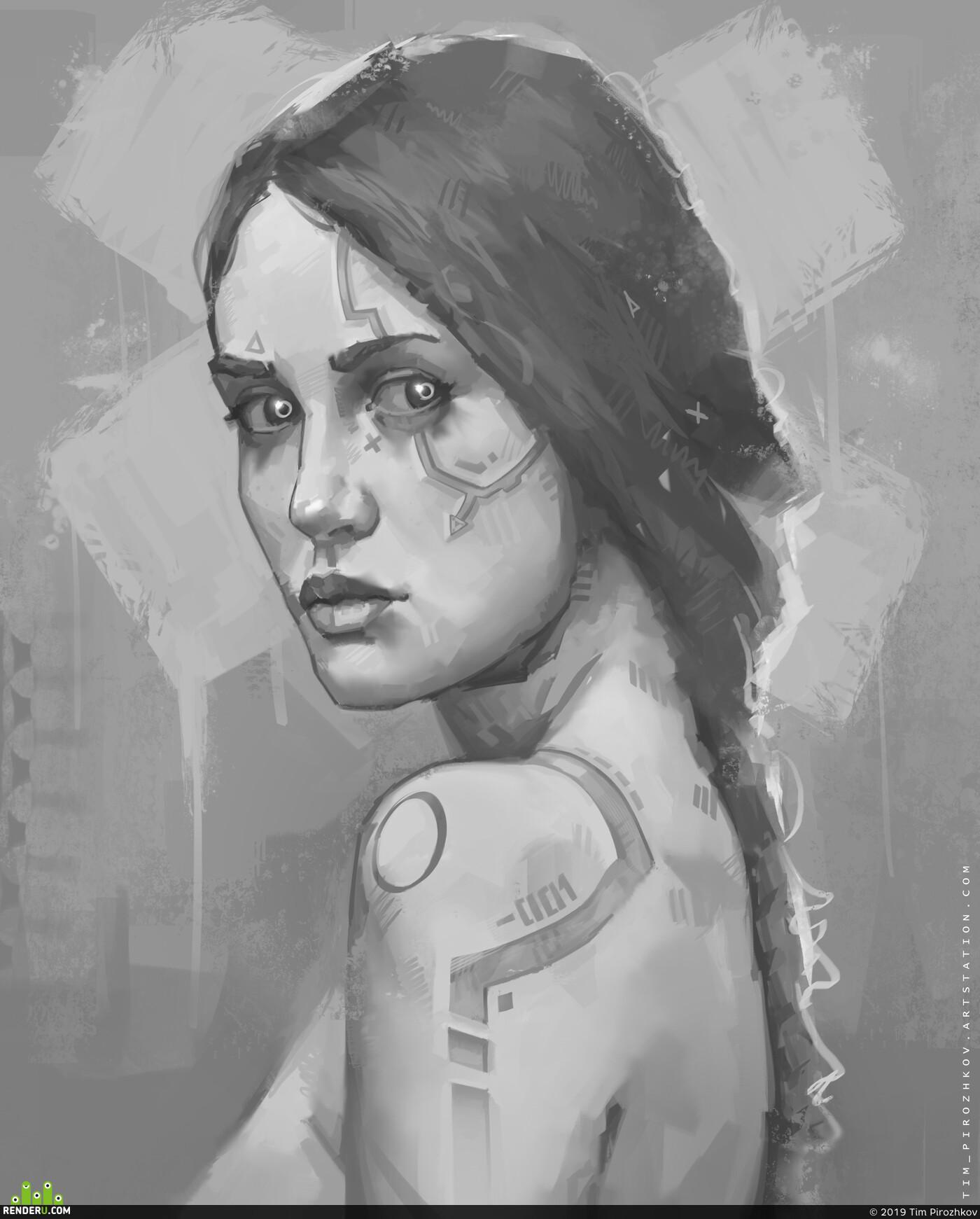 Cyberpunk 2077, киберпанк, портрет