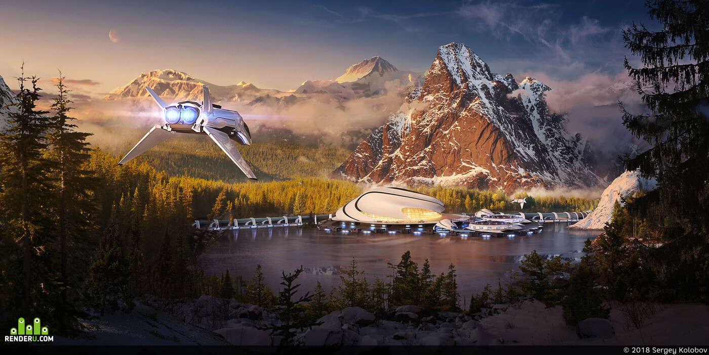 Matte Painting, 3d, Spaceport, Blender, fullcgi