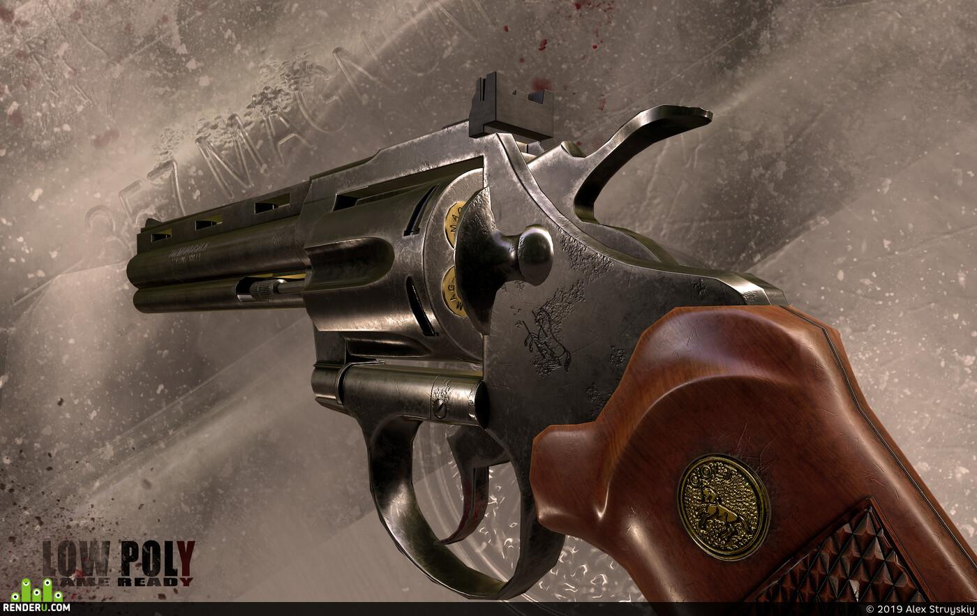 lowpoly, Maya, marmoset, game, Game-ready, gameready, gun, revolver, weapons