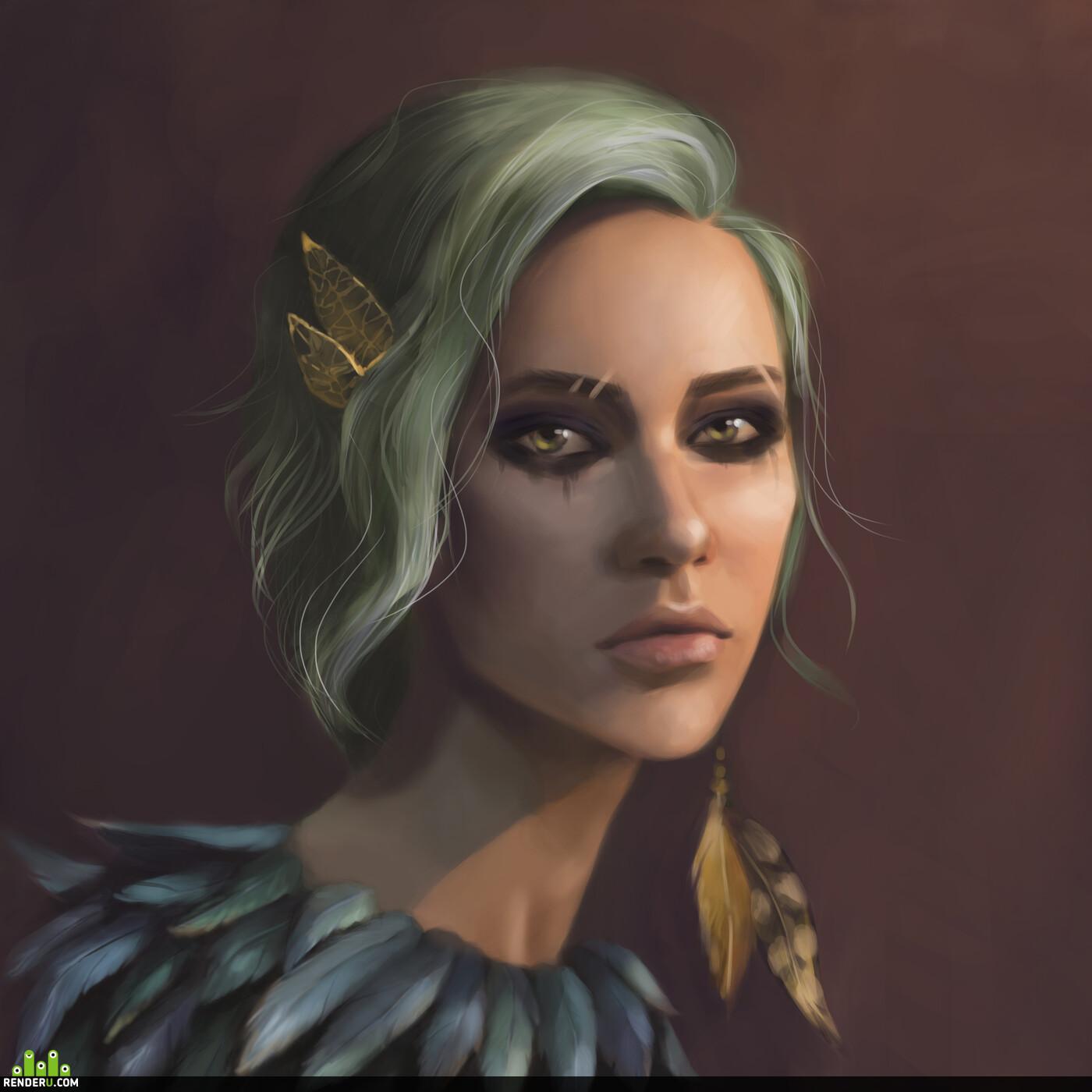 портрет, девушка, ведьма, перо